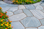 Beautiful slates and flower beds